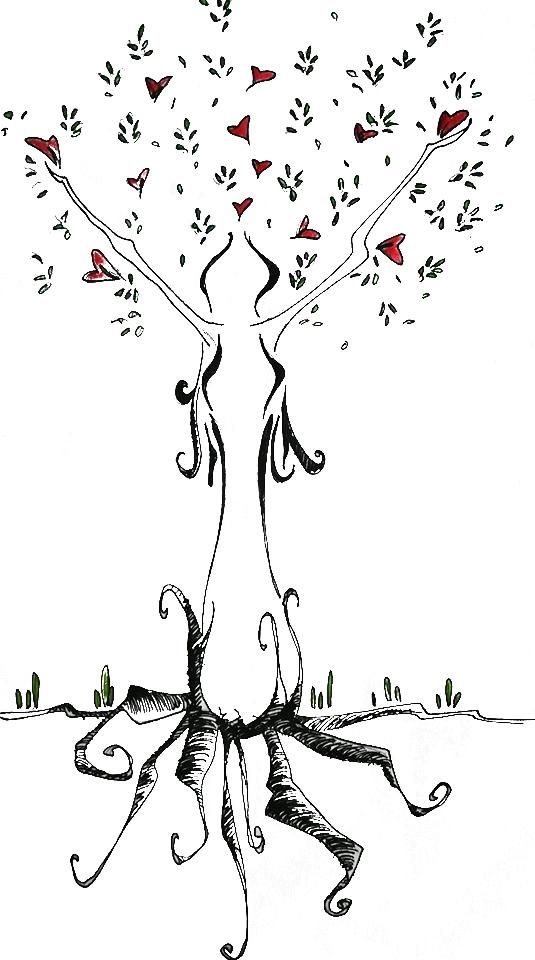 Disegno di un albero con forma femminile